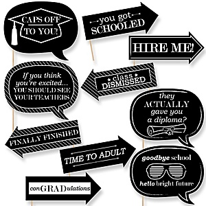 Funny Graduation Cheers - 10 Piece Graduation Party Photo Booth Props Kit