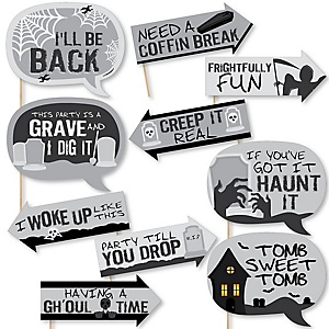 Funny Graveyard Tombstones - 10 Piece Halloween Party Photo Booth Props Kit