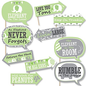 Funny Green Elephant - 10 Piece Baby Shower or Birthday Party Photo Booth Props Kit