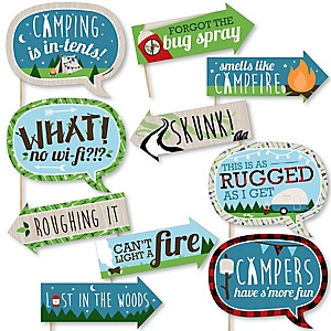Funny Happy Camper - 10 Piece Camping Baby Shower or Birthday Party Photo Booth Props Kit