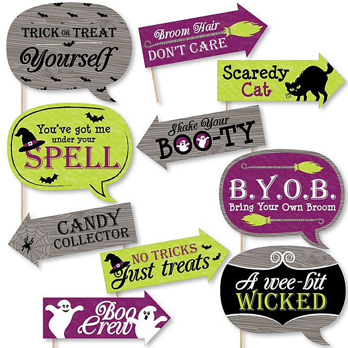 Funny Happy Halloween - 10 Piece Witch Party Photo Booth Props Kit