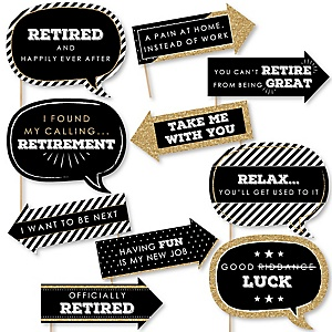 Funny Happy Retirement - 10 Piece Retirement Party Photo Booth Props Kit