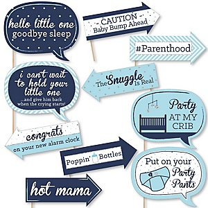 Funny Hello Little One - Blue and Silver - 10 Piece Boy Baby Shower Photo Booth Props Kit