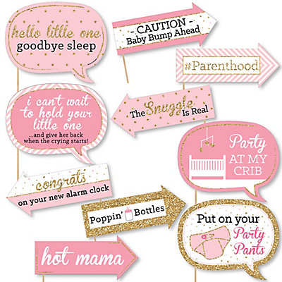 Captivating Funny Hello Little One   Pink And Gold   10 Piece Baby Shower Selfie Photo Booth  Props Kit