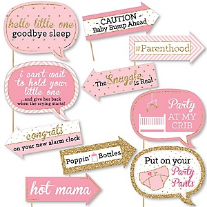 Funny Hello Little One - Pink and Gold - 10 Piece Girl Baby Shower Photo Booth Props Kit
