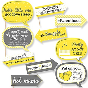 Funny Hello Little One - Yellow and Gray - 10 Piece Baby Shower Photo Booth Props Kit