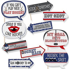 Funny Shoots & Scores! - Hockey - 10 Piece Baby Shower or Birthday Party Photo Booth Props Kit