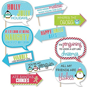 Funny Holly Jolly Penguin - 10 Piece Christmas & Holiday Photo Booth Props Kit