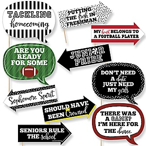 Funny Homecoming - 10 Piece Football Themed School Dance Photo Booth Props Kit