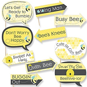 Funny Honey Bee - 10 Piece Baby Shower or Birthday Party Photo Booth Props Kit
