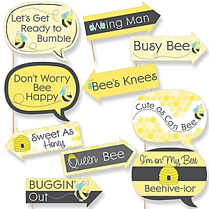 Funny Honey Bee 10 Piece Baby Shower Or Birthday Party Photo Booth Props Kit