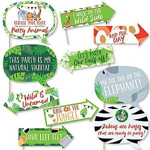 Funny Jungle Party Animals - 10 Piece Safari Zoo Animal Birthday Party or Baby Shower Photo Booth Props Kit