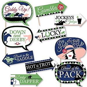 Funny Kentucky Derby - 10 Piece Horse Race Party Photo Booth Props Kit