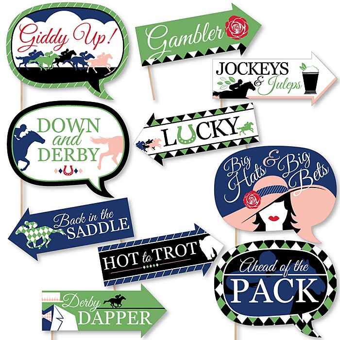 Funny Kentucky Horse Derby - 10 Piece Horse Race Party Photo Booth Props Kit