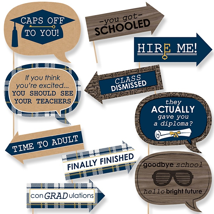 Funny Grad Keys to Success - 10 Piece Graduation Party Photo Booth Props Kit
