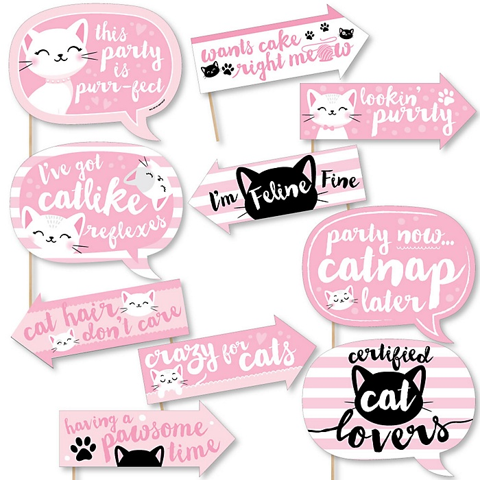 Funny Purr-fect Kitty Cat - 10 Piece Kitten Meow Baby Shower or Birthday Party Photo Booth Props Kit
