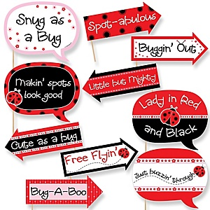 Funny Modern Ladybug - 10 Piece Baby Shower or Birthday Party Photo Booth Props Kit