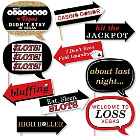 Funny Las Vegas - 10 Piece Photo Booth Props Kit