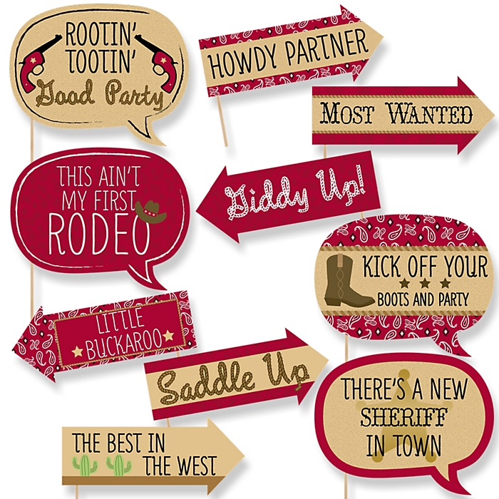Funny Little Cowboy - 10 Piece Western Baby Shower or Birthday Party Photo Booth Props Kit