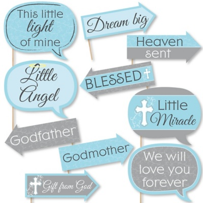 Funny Little Miracle Boy Blue Gray Cross 10 Piece Baptism Or