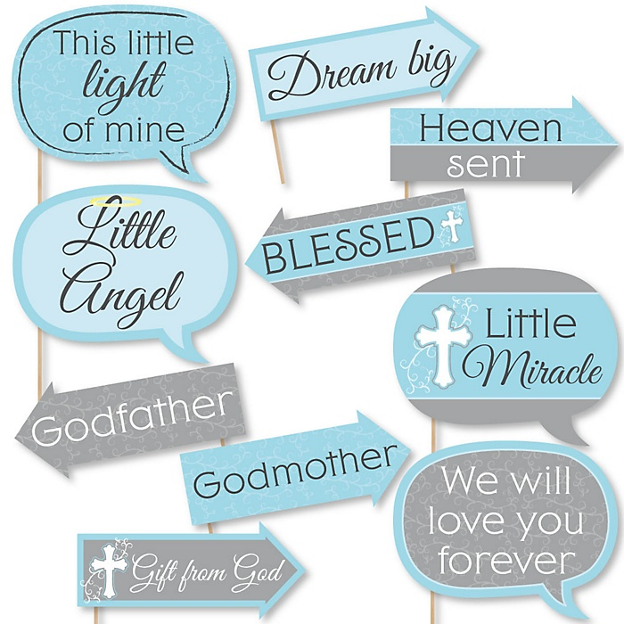 Funny Little Miracle Boy Blue & Gray Cross - 10 Piece Baptism or Baby Shower Photo Booth Props Kit