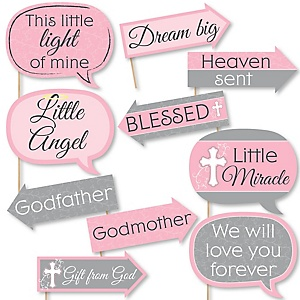 Funny Little Miracle Girl Pink & Gray Cross - 10 Piece Baptism or Baby Shower Photo Booth Props Kit