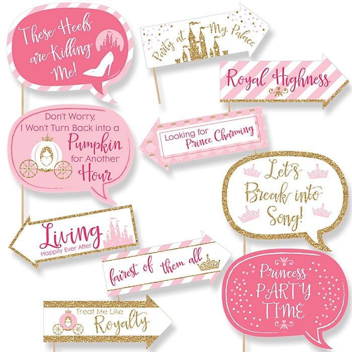 Funny Little Princess Crown - 10 Piece Pink and Gold Princess Baby Shower or Birthday Party Photo Booth Props Kit