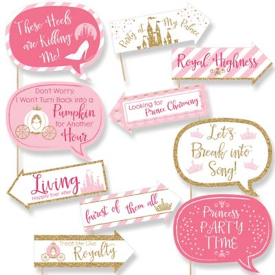 Funny Little Princess Crown   10 Piece Pink And Gold Princess Baby Shower  Or Birthday Party Photo Booth Props Kit