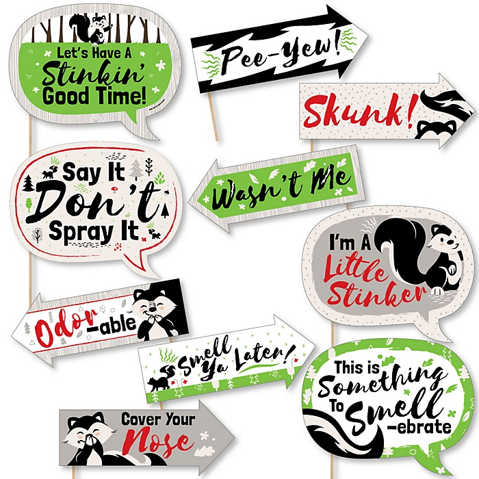 Funny Little Stinker - Woodland Skunk - 10 Piece Baby Shower or Birthday Party Photo Booth Props Kit