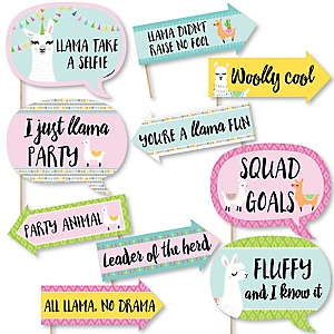 Funny Whole Llama Fun - 10 Piece Llama Fiesta Baby Shower or Birthday Party Selfie Photo Booth Props Kit