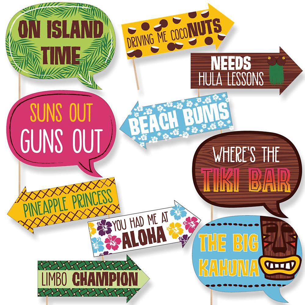 Funny Tiki Luau   10 Piece Tropical Hawaiian Summer Party Photo Booth Props  Kit