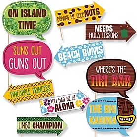Funny Tiki Luau - 10 Piece Tropical Hawaiian Summer Party Photo Booth Props Kit