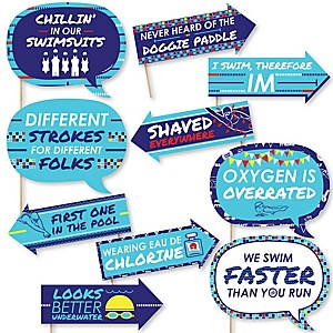 Funny Making Waves - Swim Team - 10 Piece Baby Shower or Birthday Party Photo Booth Props Kit