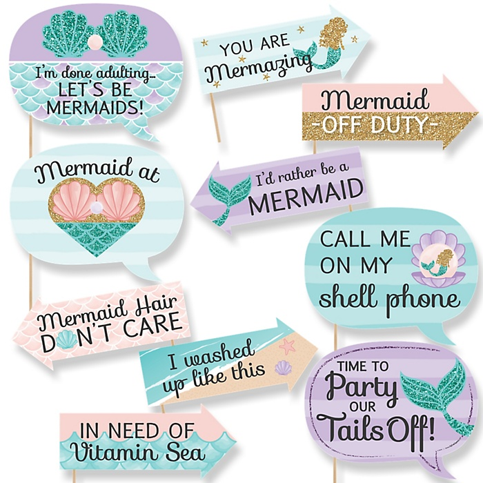 Funny Let's Be Mermaids - 10 Piece Girl Baby Shower Photo Booth Props Kit