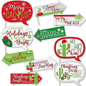 Funny Merry Cactus - 10 Piece Mexican Fiesta Photo Booth Props Kit