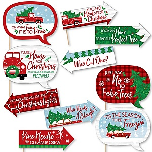 Funny Merry Little Christmas Tree - Red Truck and Car Christmas Party Photo Booth Props Kit - 10 Piece
