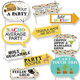 Funny Let's Fiesta - 10 Piece Mexican Fiesta Photo Booth Props Kit