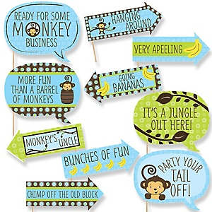 Funny Blue Monkey Boy - 10 Piece Baby Shower or Birthday Party Photo Booth Props Kit