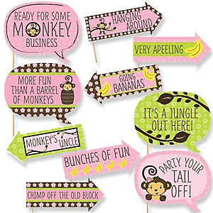 Funny Pink Monkey Girl - 10 Piece Baby Shower or Birthday Party Photo Booth Props Kit