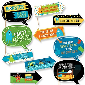 Funny Monster Bash - 10 Piece Little Monster Birthday Party or Baby Shower Photo Booth Props Kit