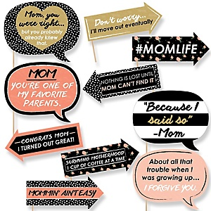Funny Best Mom Ever - 10 Piece Mother's Day Photo Booth Props Kit