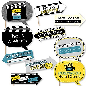 Funny Movie - 10 Piece Hollywood Party Photo Booth Props Kit