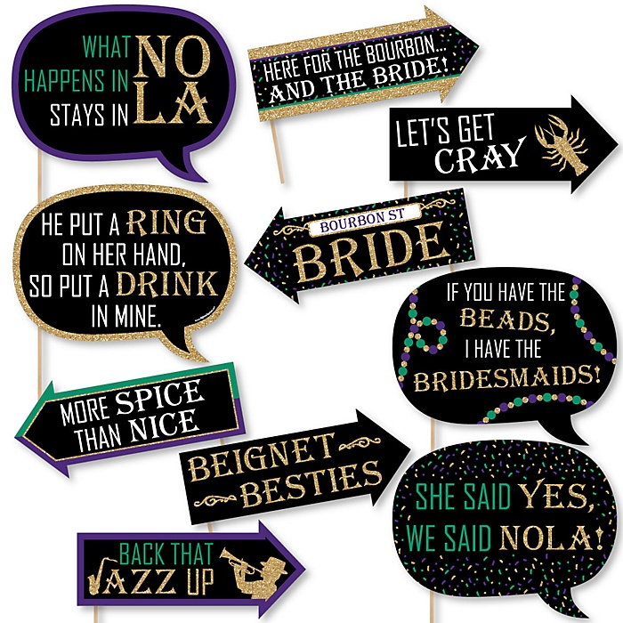Funny NOLA Bride Squad - 10 Piece New Orleans Bachelorette Party Photo Booth Props Kit