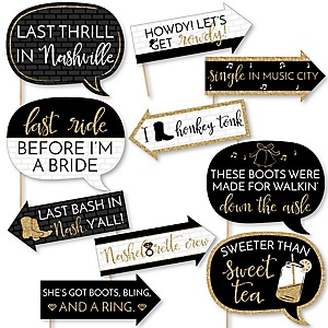 Funny Nash Bash - 10 Piece Nashville Bachelorette Party Photo Booth Props Kit