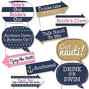 Funny Last Sail Before The Veil - 10 Piece Bachelorette Party & Bridal Shower Photo Booth Props Kit
