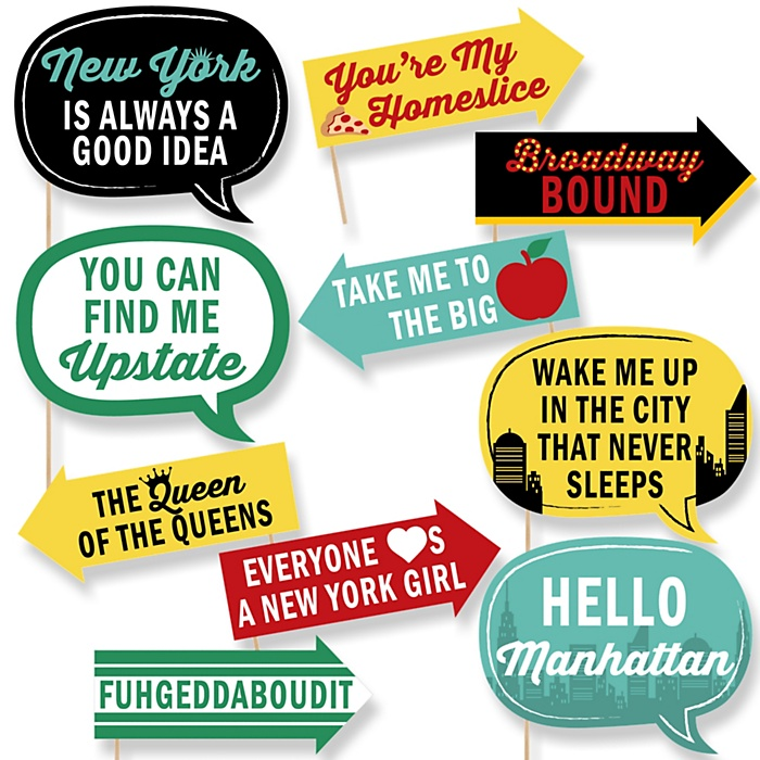 Funny New York - 10 Piece NYC Cityscape Photo Booth Props Kit