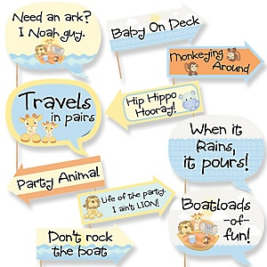 Funny Noah's Ark - 10 Piece Baby Shower Photo Booth Props Kit