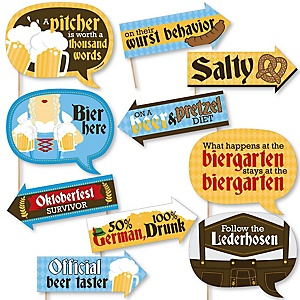 Funny Oktoberfest - German Beer Festival 10 Piece Photo Booth Props Kit