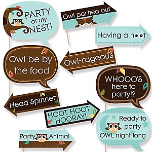 Funny Owl - Look Whooo's Having A Party - 10 Piece Baby Shower or Birthday Party Photo Booth Props Kit