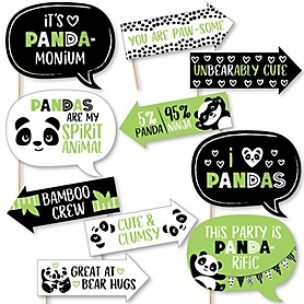 Funny Party Like a Panda Bear - 10 Piece  Baby Shower or Birthday Party Selfie Photo Booth Props Kit